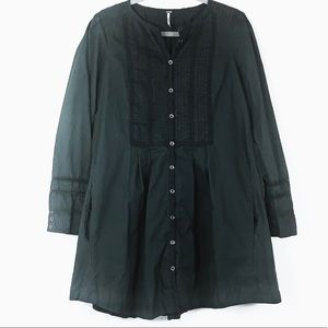 Free people green cotton  long sleeve dress